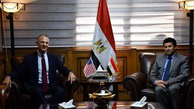 اشرف صبحي والسفير الأمريكي